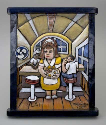 EAT Diner Waitress, EAT black frame
