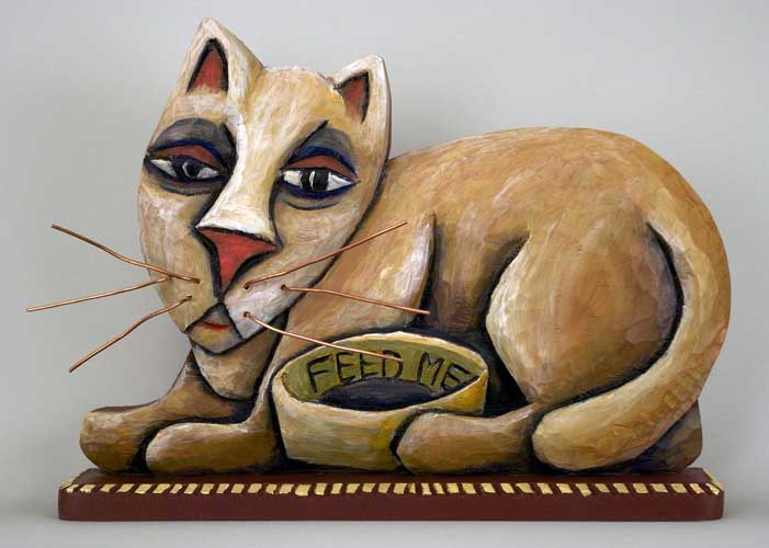 Folk art cat feed me