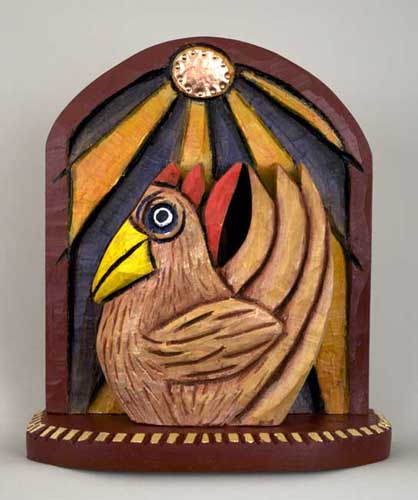 Folk art Rooster Sunrise 11