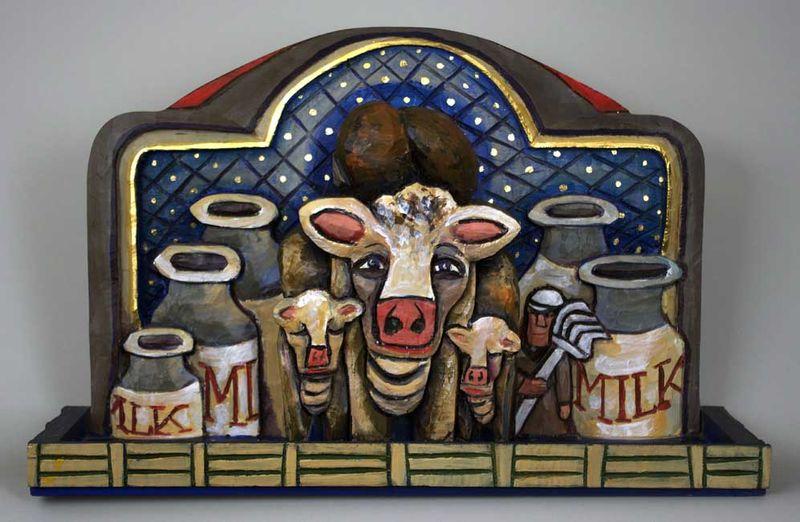 Folk art f Cow shelf B