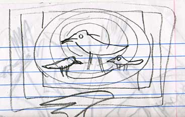 Crows in a circle, sketch 1