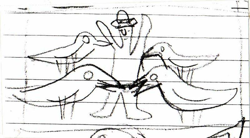 Crows in circle sketch