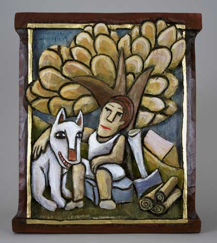Dog and Guy under tree 5