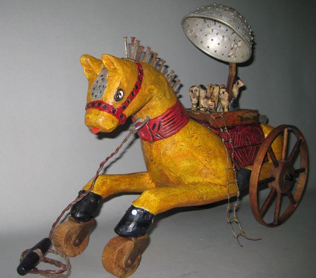 A Trojan Hay Ride Linda Lou Horn 42x5 12