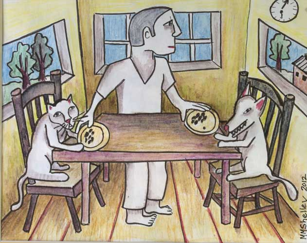 Drawing cat and dog at table copy