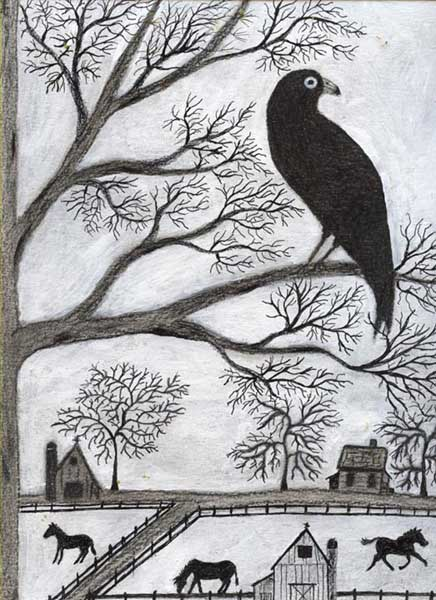 Black goat folk art crow