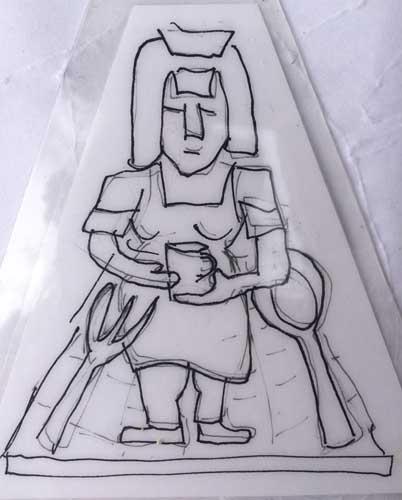 Waitress Icon Drawing