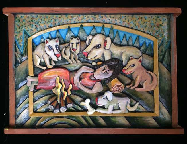 Woman dog painting 4