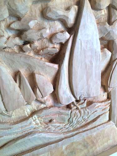 Sailboat carving detail 2