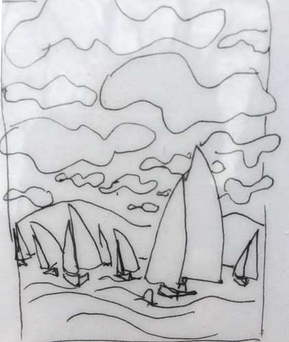 Sailing race Cayuga sketch