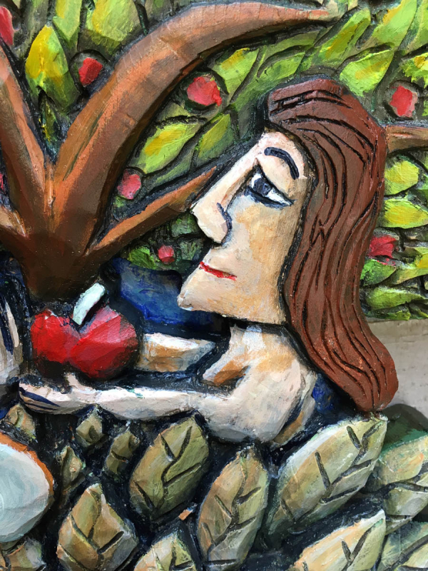 Adam and eve close up details folk art mary