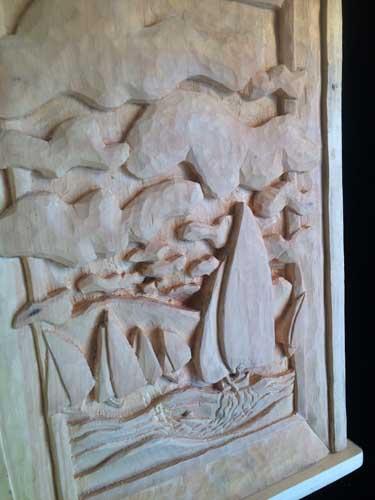 Sailboat carving detail 3
