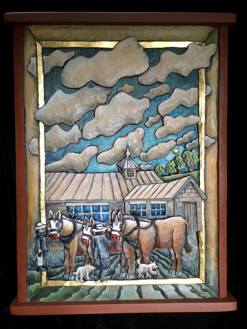 Amish Farmer harhessing horses