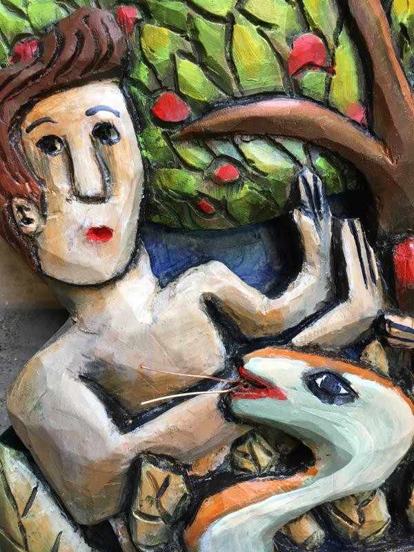 Adam and eve close up details folk art mary