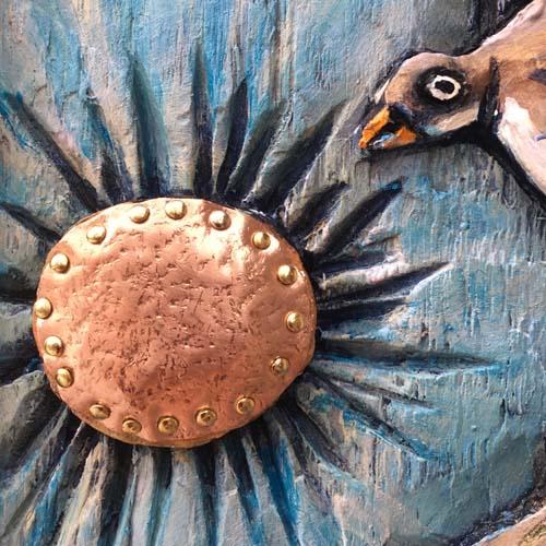 Close up sun and bird