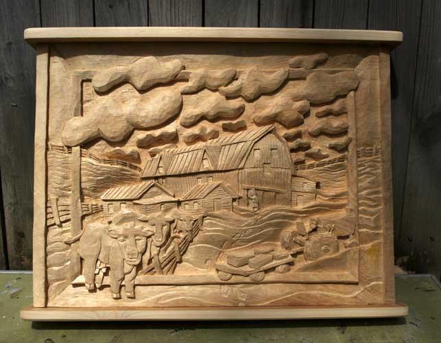 Snowy Barn carved