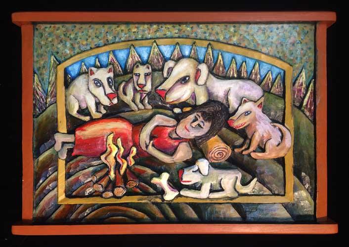 Woman dog painting 5