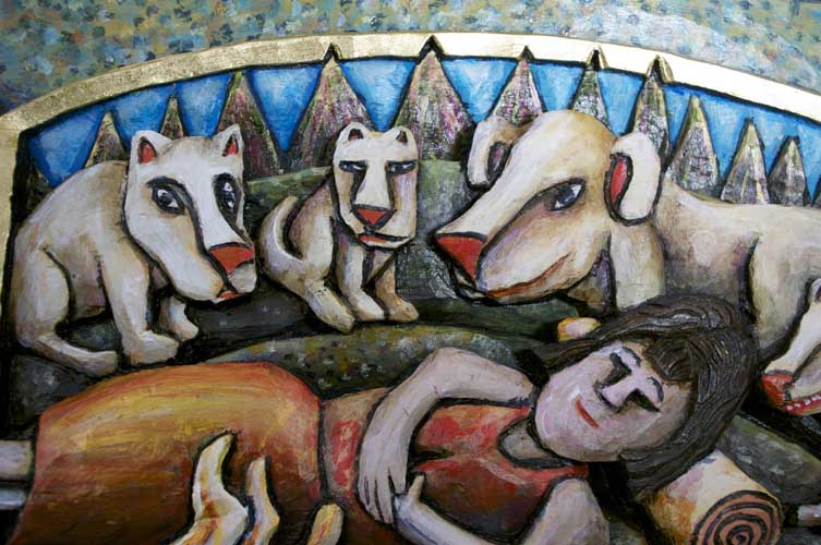 Woman and protective dogs 7